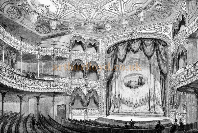 The Auditorium and Stage of J. T. Robinson's Royal Alexandra Theatre, Camden - From The Builder, May 17th 1873.