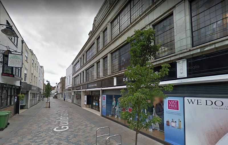 A Google Streetview image of Guildhall Street, Canterbury, the site of the former Theatre Royal can be seen to the right - Click to Interact.