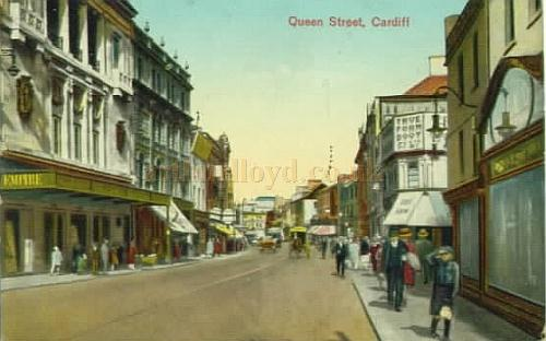 A colour postcard view of the Empire Theatre and Queen Street, Cardiff.