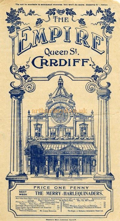 A Variety Programme for the Cardiff Empire in November 1912 - Courtesy Tim Trounce.
