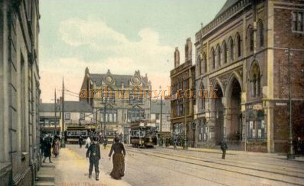 An early postcard showing the Theatre Royal, Wood Street and St. Mary Street, Cardiff