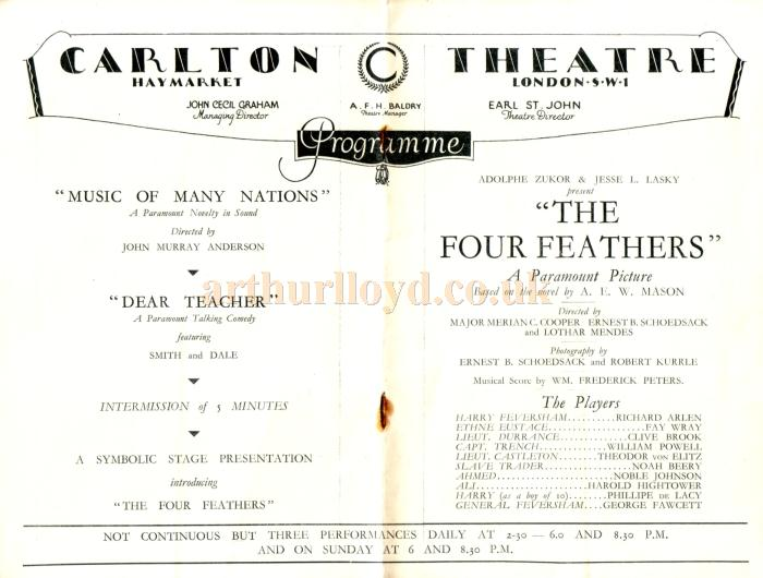 Details from a Film Programme for the Carlton Theatre in 1929