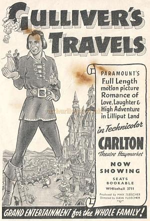 An advertisement for 'Gulliver's Travels' at the Carlton Theatre from a programme for 'The light that failed' at the Plaza Theatre on the 12th of January 1939 - Courtesy Hugh McCullough of CinePhoto.co.uk.