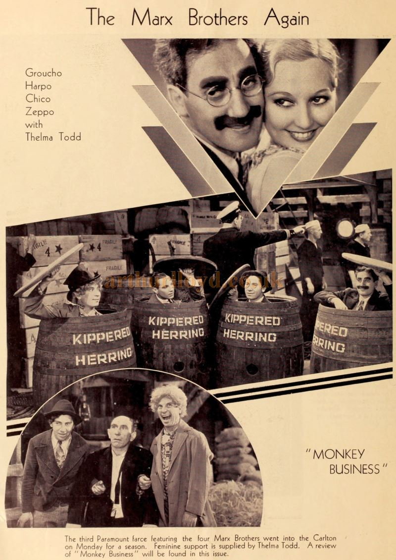 Stills from the Marx Brothers' film 'Monkey Business' which was shown at the Carlton Theatre, Haymarket in September 1931 - From 'The Bioscope', September 1931.