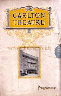 A Programme for the musical comedy 'The Yellow Mask', the second production to be put on at the Carlton Theatre.