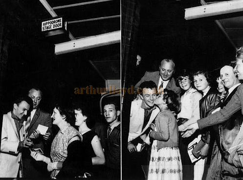 Charlie Gracie signing autographs at the Stage Door of the London Hippodrome in 1957