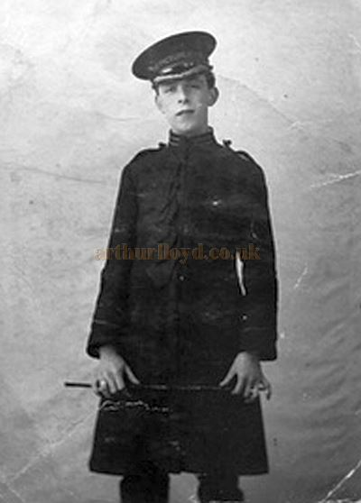 William Spendiff in a Doorman's Uniform for the Picture Palace, Chatham, which is written on his hat. William also worked the Limes at the Empire Theatre next door - Courtesy his son Herbert Frederick Spendiff.