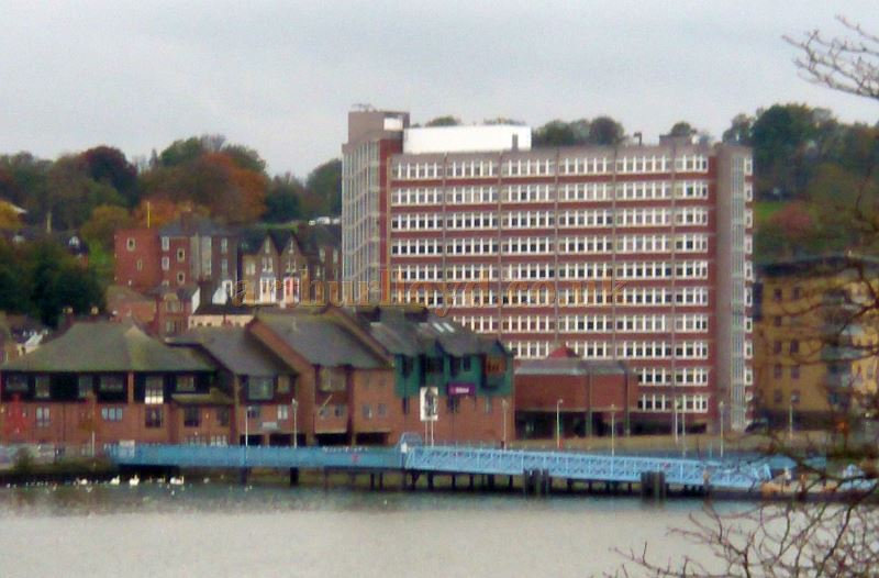 Anchorage House from across the River Medway in October 2017. The Building's car park stands on the site of the former Gaiety Music Hall and later Empire Theatre - Courtesy Philip Paine.
