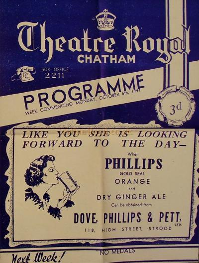 A Programme for 'Arsenic And Old Lace' at the Theatre Royal, Chatham on September the 8th 1947 - Courtesy Rod Allison.