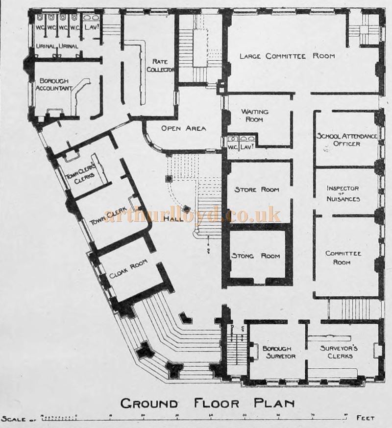 The Ground Floor Plan of the Chatham Town Hall - From The Building News and Engineering Journal of December 4th 1896.