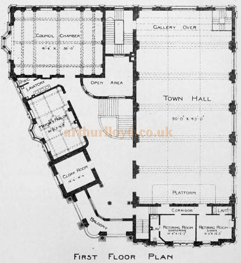 The First Floor Plan of the Chatham Town Hall - From The Building News and Engineering Journal of December 4th 1896.