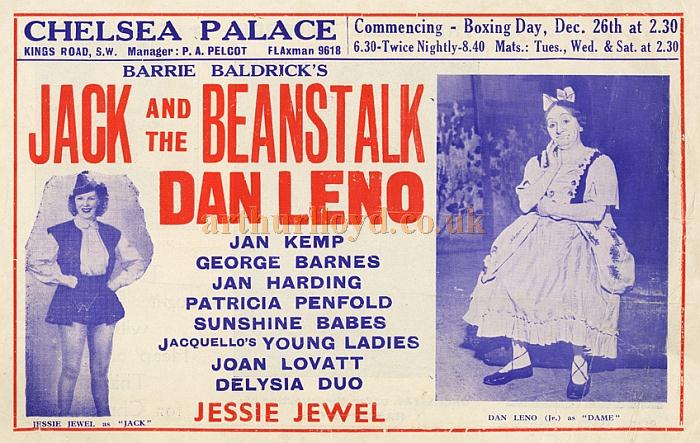 A Bill for 'Jack and the Beanstalk' from the Panto Season at the Chelsea Palace Theatre in 1950/51 - Courtesy Tony Craig