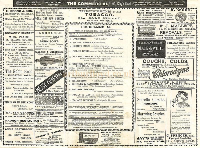Details from a variety programme for the Chelsea Palace Theatre for Monday, February the 2nd, 1914
