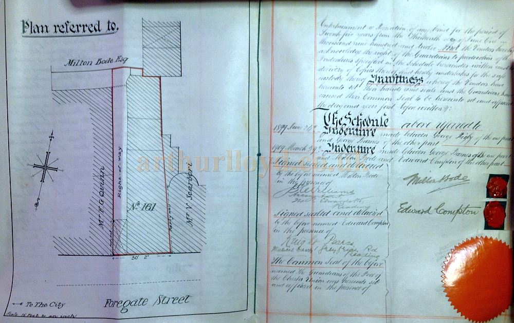 An Indenture for the purchase of a building near the Royalty Theatre, in Foregate Street in 1912, for use as offices by Milton Bode and Edward Compton, kindly sent in by Tim Joosten.