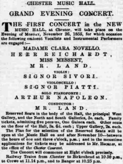 An advertisement for the Grand Opening Concert of the New Music Hall, Chester - From the Chester Chronical, 27th October 1855.