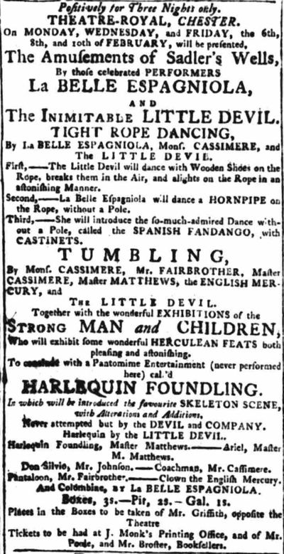 An early advertisement for the Theatre Royal, Chester - From the Chester Courant, 31st January 1786.