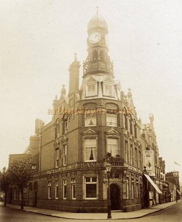 An early photograph showing Barclays Bank and the former Town Hall and the Operetta House, Clacton-On-Sea - Courtesy Maurice Friedman, British Music hall Society.