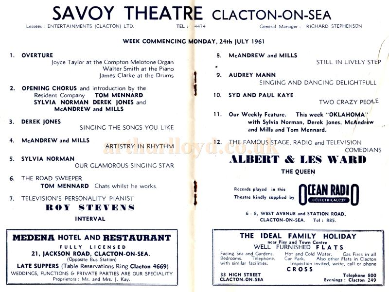 A Variety Programme for the Savoy Theatre, Clacton-on-Sea in July 1961.