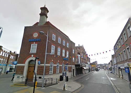 A Google StreetView image showing what remains of the former Town Hall and Operetta House, Clacton - Click to Interact.