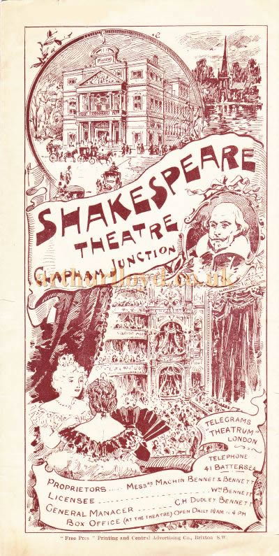 An early pantomime programme for the Shakespeare Theatre, Clapham Junction, for a production of 'Dick Whittington' at Christmas 1897/98.