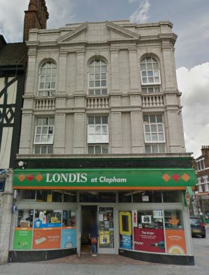 A Google StreetView Image of the Surviving Facade of the proposed Coliseum Cinema, now in use as a branch of Londis - Click to Interact.