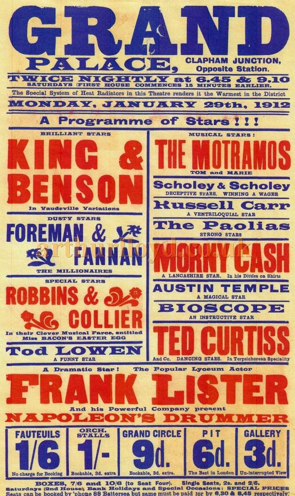 A 1912 Variety Poster for the Clapham Grand Palace - Courtesy Ron Knee Archive.