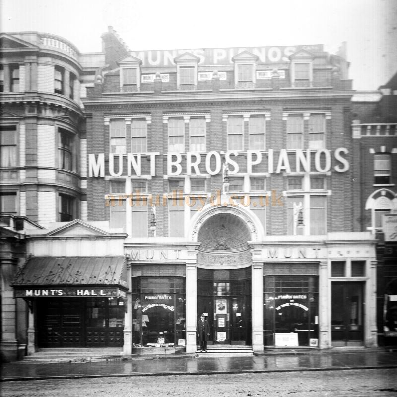 An early photograph of Munt's Bro's Pianos and the Entrance to Munt's Hall - Courtesy The Munt Family Archive