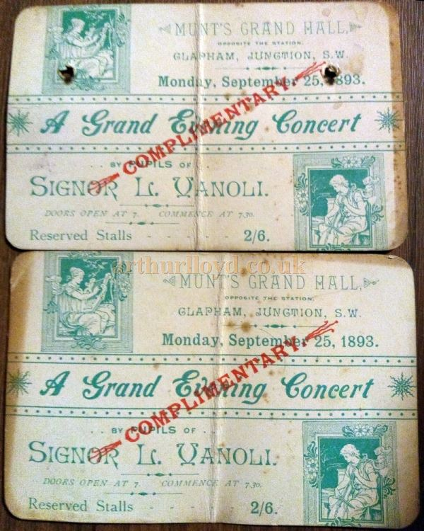 Two Complimentary Tickets for a 'Grand Evening Concert' at Munt's Grand Hall in September 1893 - Courtesy Barry Booth who says he found them inside an old piano 25 years ago.