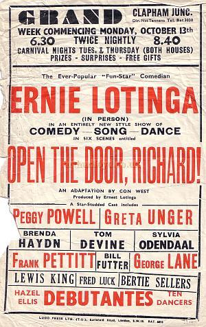 Poster for the Grand for the week of October 13th 1947, during Nat Tennens' Management who ran the Grand between 1946 and 1949.
