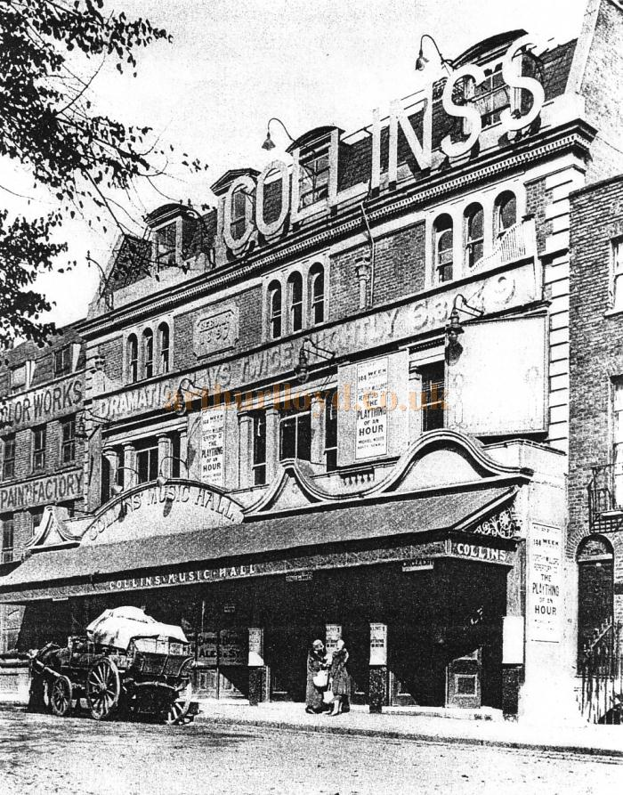 An image of the original frontage of Collins' Music Hall - Courtesy Peter Charlton.