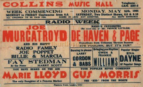 Collins Music Hall Bill for 1944 with Ena Dayne, Joe Murgatroyd, Marie Lloyd and De Haven & Page - Courtesy Colin Charman - Click for information on Collins Music Hall.