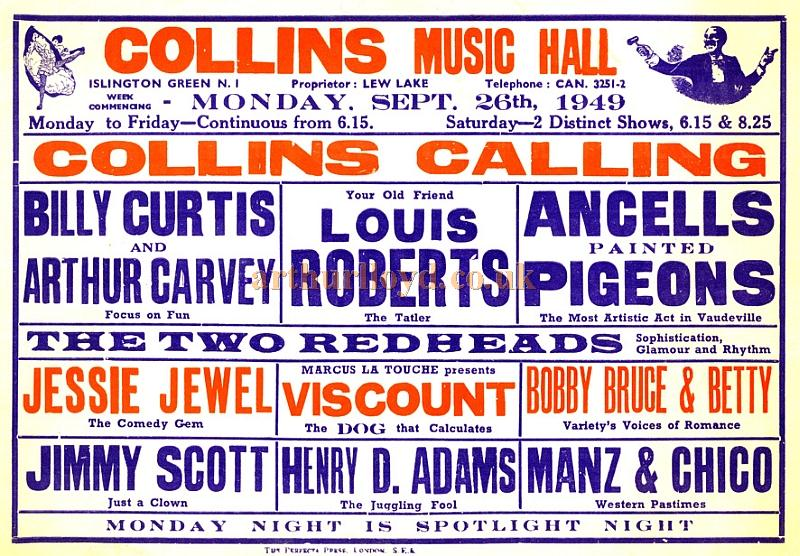A Collins Music Hall Bill from 1949 - Courtesy Tony Craig whose mother Jessie Jewel was on the Bill