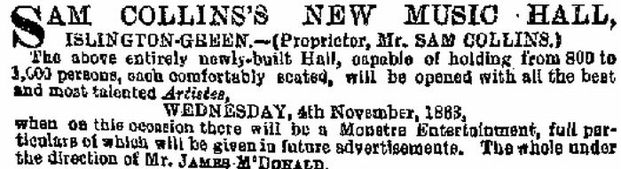 An Advertisement for Sam Collins's New Music Hall - From the ERA of 25th October 1863