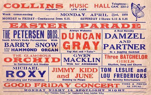 Bill advertising 'Easter Parade' at Collins' Music Hall in April 1950.