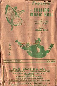 Programme for 'Strippingly Saucy' at Collins' Music Hall in March 1950 - Click to see entire programme.