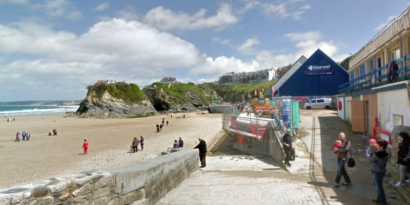 A Google StreetView Image of the site of the former Cosy Nook Theatre, Newquay, now the Blue Reef Aquarium - Click to Interact.