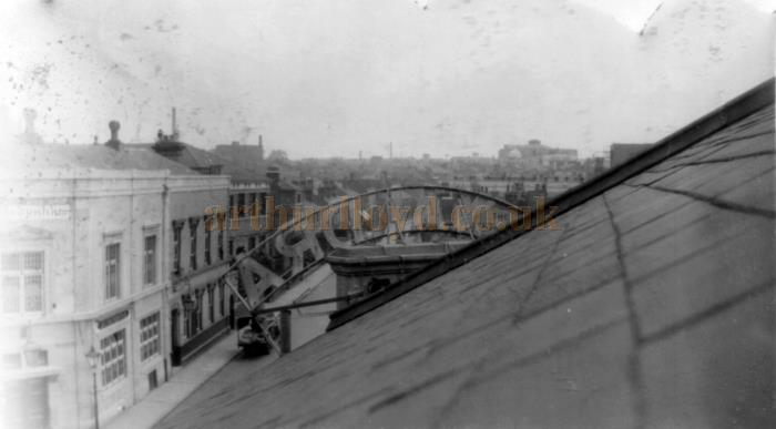 The view from the roof of the Alexandra Theatre, Coventry in the 1930s or 1940s, showing the Theatre's sign from the back.