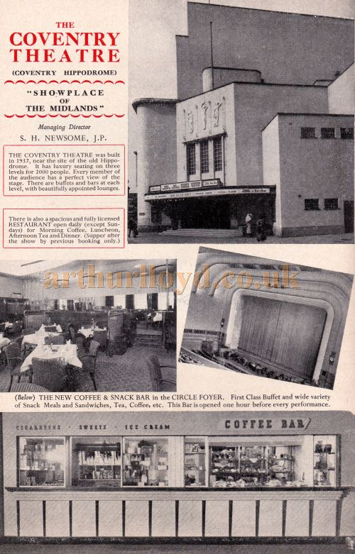 Details and Images of the Coventry Theatre - From a programme for the Pantomime 'Mother Goose' at the Coventry Theatre at Christmas 1956 / 57 - Kindly Donated by Mary Shuker.