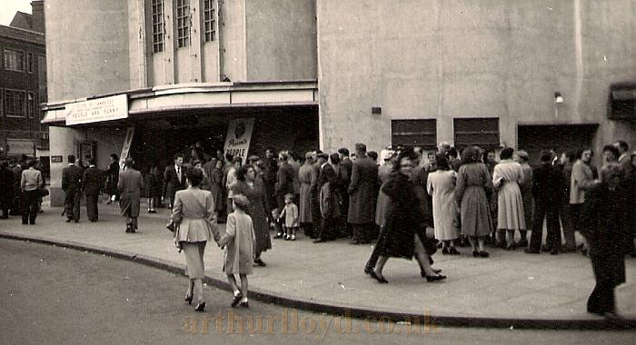An expectant audience queues outside the Coventry Hippodrome for a recording of a Radio Luxembourg programme called 'People Are Funny' on the 26th of September 1954 - Courtesy Allan Hailstone.