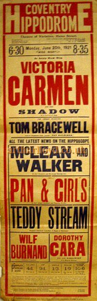 A Poster for a Variety show at the Second Coventry Hippodrome Theatre on June 20th 1921 - Courtesy Stephen Wischhusen.