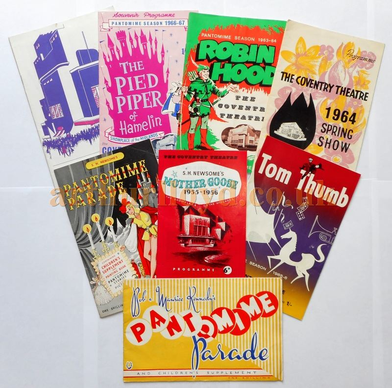 A Selection of Pantomime Programmes for the Coventry Theatre in the 1950s and 60s - Kindly Donated by Mary Shuker whose Mother Patricia Shuker was an avid Theatre goer for over 60 years.
