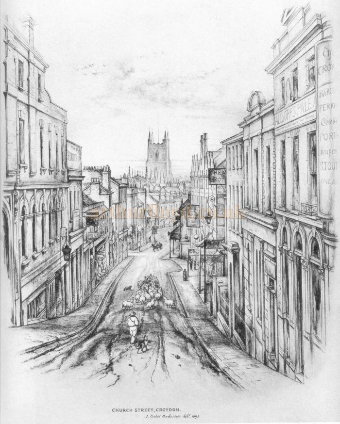 A sketch of Church Street, Croydon showing the Theatre Royal, by J. Corbet Anderson, 1893 - Courtesy Albert Seaman