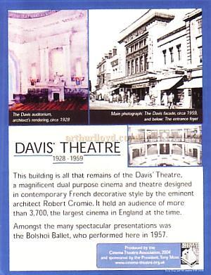 The Davis Theatre Plaque -  from the CTA Bulletin vol 39 No 2 March/April 2005