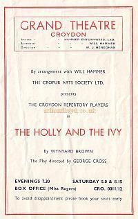 Programme for 'The Holley and the Ivy' at the Croydon Grand Theatre March 3rd 1952 - Courtesy Jean Lloyd - Part of a collection of programmes from my parents Theatre visits in their first years of marriage.