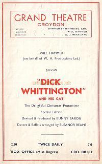 Programme for 'Dick Whittington' at the Croydon Grand Theatre 1950s - Courtesy Jean Lloyd - Part of a collection of programmes from my parents Theatre visits in their first years of marriage.