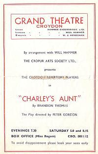 Programme for 'Charley's Aunt' at the Croydon Grand Theatre October 8th 1951 - Courtesy Jean Lloyd - Part of a collection of programmes from my parents Theatre visits in their first years of marriage.