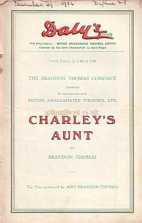 Programme for 'Charley's Aunt' at Daly's Theatre in 1934.
