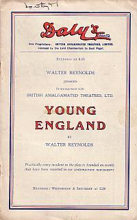 Programme for 'Young England' at Daly's Theatre in 1935 which was a transfer from the Victoria Palace Theatre.