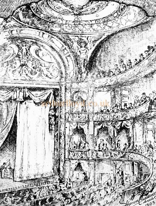 A Sketch of the auditorium of Daly's Theatre by the Theatre's Architect Spencer Chadwick in 1893 - From The Survey of London, Vol 33/34 St Anne Soho held at British History Online.