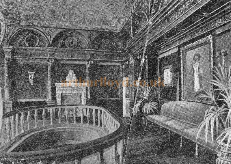 The first floor foyer of Daly's Theatre - From a Programme for the Second Edition of 'An Artist's Model' at Theatre in September 1895 - Click to see the entire Programme.